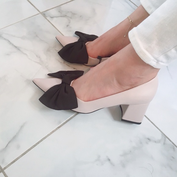 866cfc34773 ZARA medium heel pumps with bow
